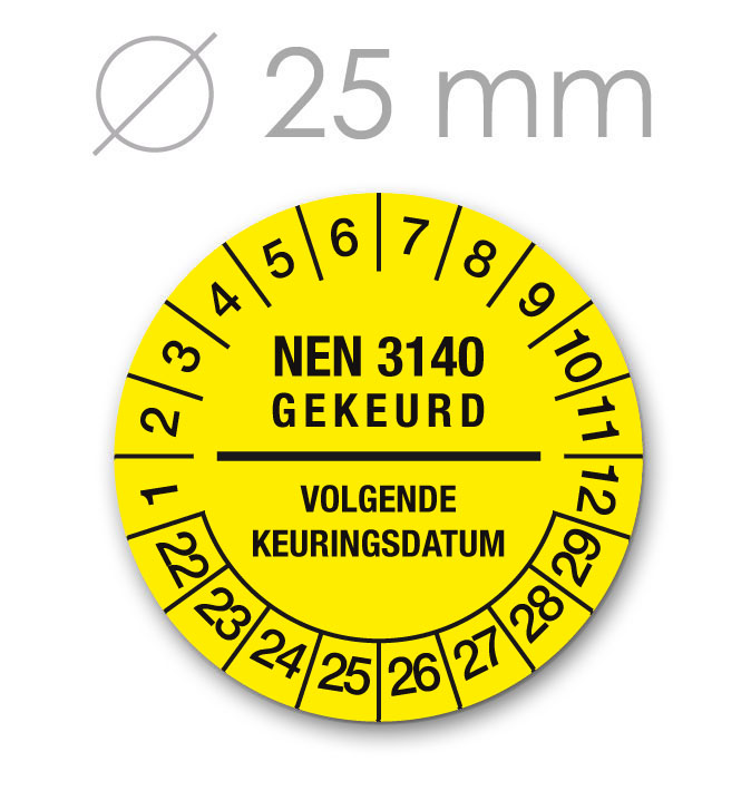 Keuringssticker 25 mm GEEL