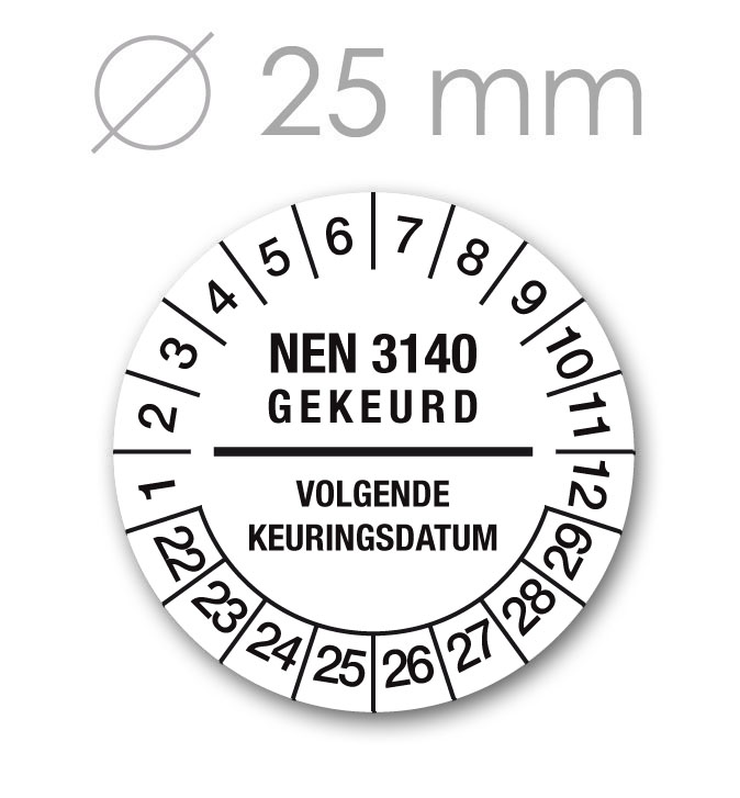 Keuringssticker 25 mm WIT