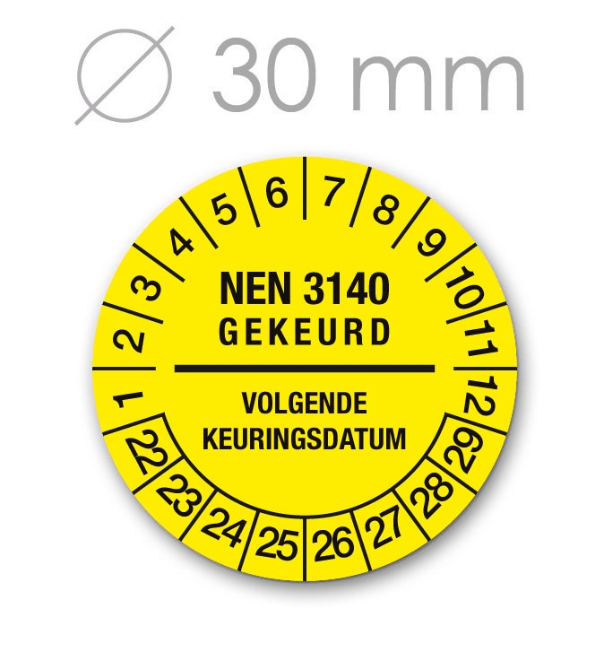 Keuringssticker 30 mm GEEL