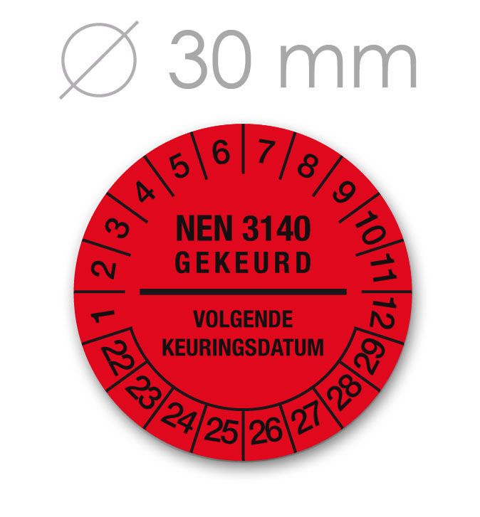 Keuringssticker 30 mm ROOD